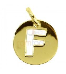 Pendentif lettre F 11 mm en Argent 925 doré