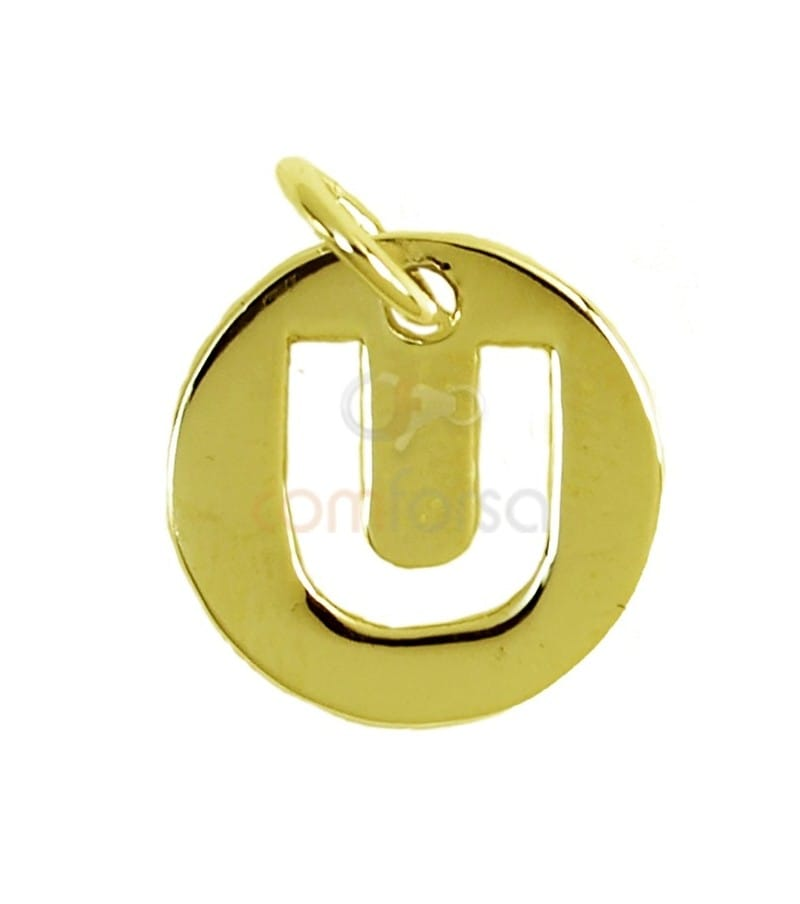 Pendentif lettre U 11 mm en Argent 925 doré