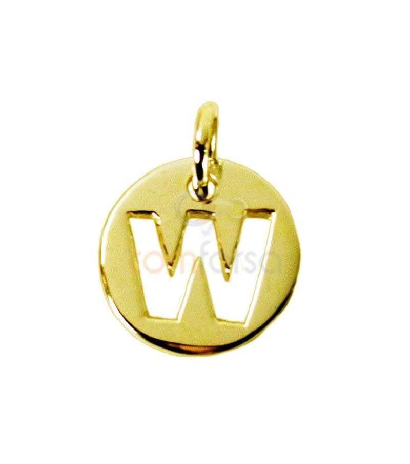 Pendentif lettre W 11 mm en Argent 925 doré