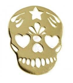 Pendentif tête de mort mexicaine 15 x 18 mm argent 925 plaqué or