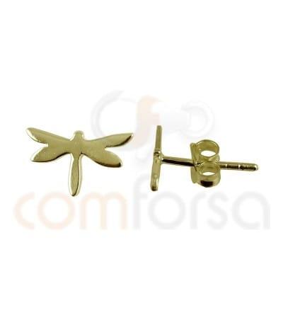Pendiente libélula 9.3*5.4mm plata chapada en oro
