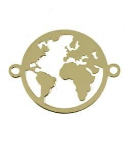 Intercalaire monde 15mm argent doré