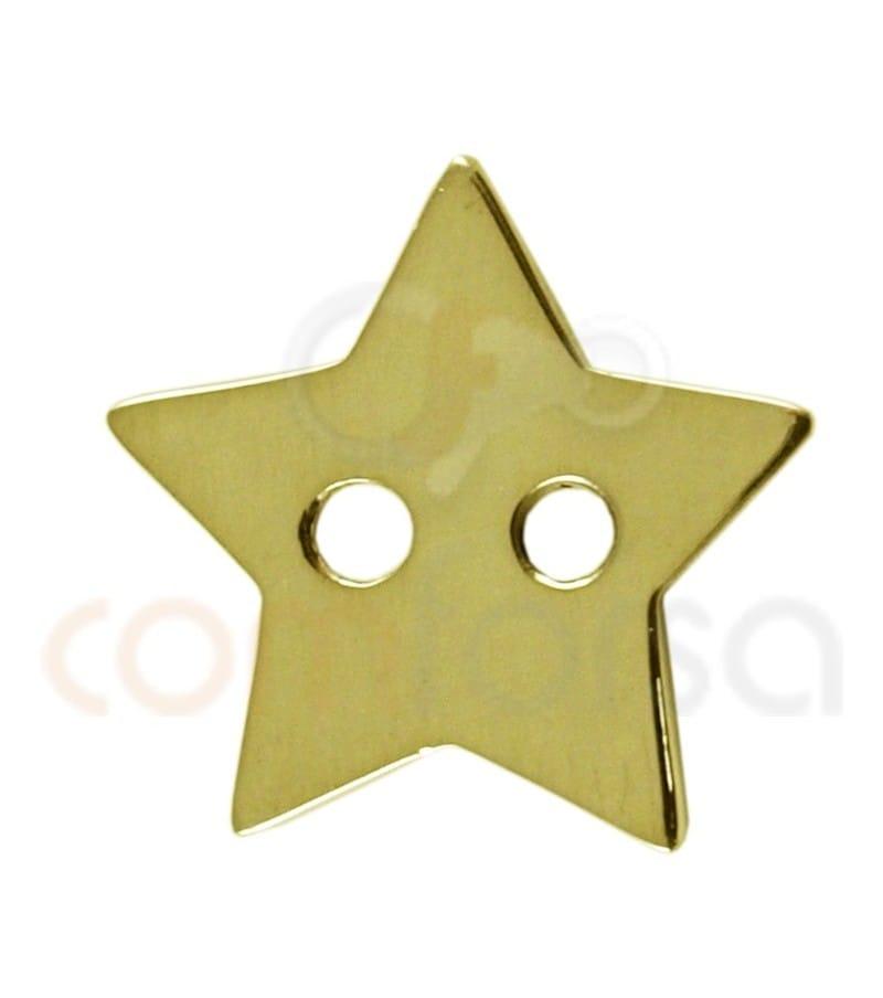 Étoile double trou  12x13 argent 925ml doré