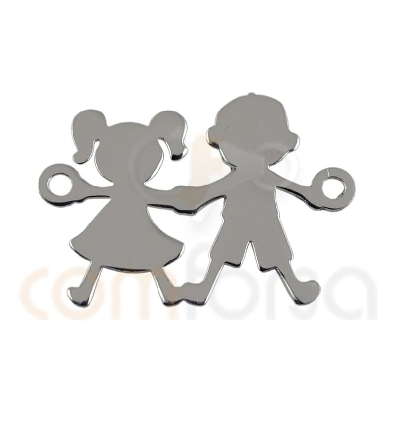 Intercalaire fils et fille 20 x 12 mm Argent 925ml
