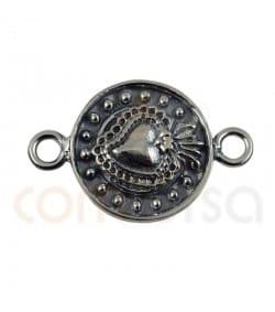 Intercalaire noirci coeur 14mm argent 925