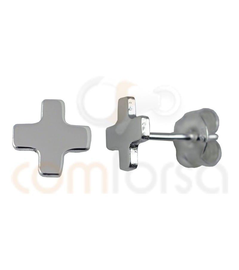 Pendiente cruz cuadrada 8 mm plata 925