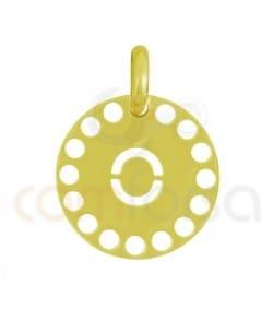 Pendentif lettre O avec des circles ajourés 14 mm argent 925ml doré