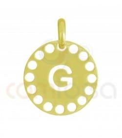 Pendentif lettre G avec des circles ajourés 14 mm argent 925ml doré