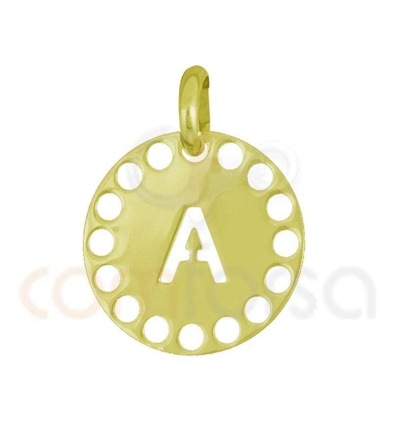 Pendentif lettre A avec des circles ajourés 14 mm argent 925ml doré