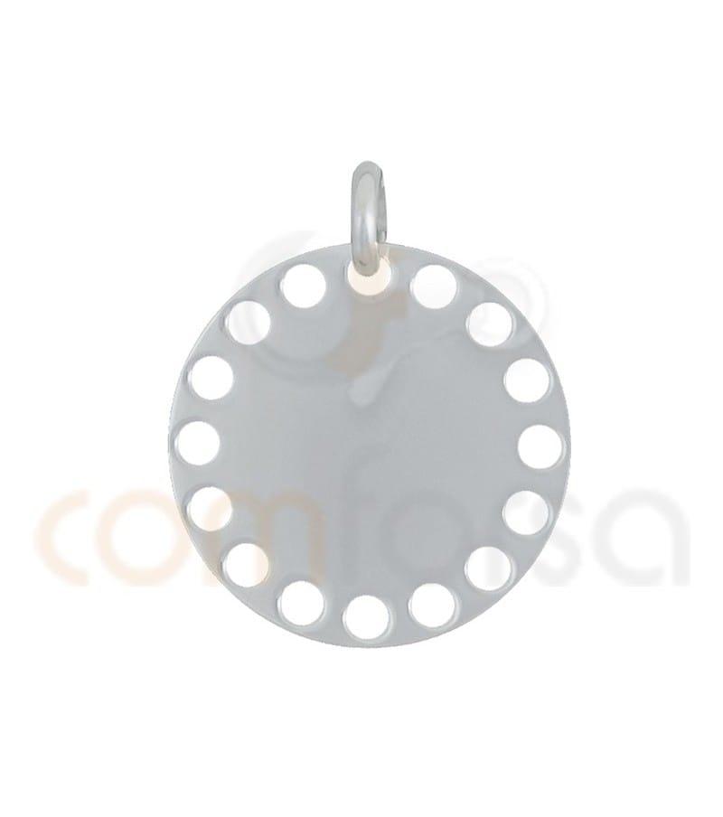 Pendentif lisse avec des circles ajourés en 20 mm argent 925ml