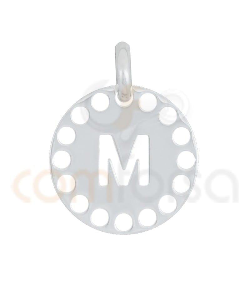 Pendentif lettre M avec des circles ajourés 14 mm argent 925ml