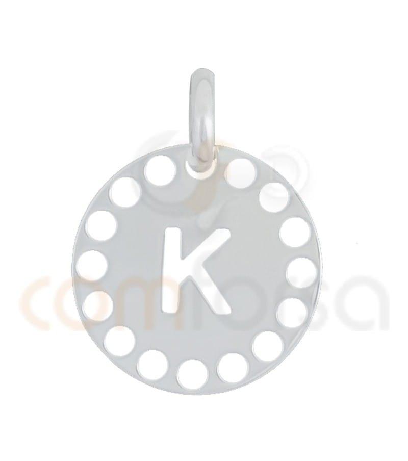 Pendentif lettre K avec des circles ajourés 14 mm argent 925ml