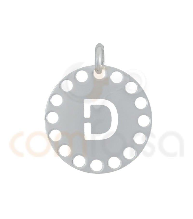 Pendentif lettre D avec des circles ajourés 14 mm argent 925ml