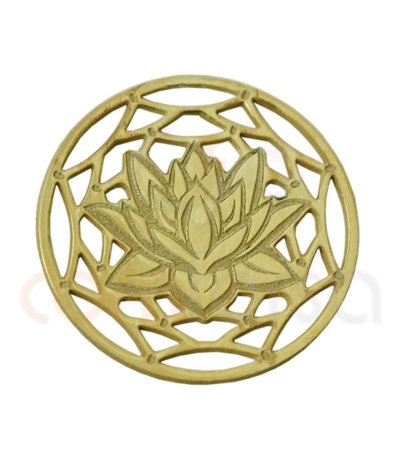 Mandala fleur de lotus 13 mm argent 925ml doré