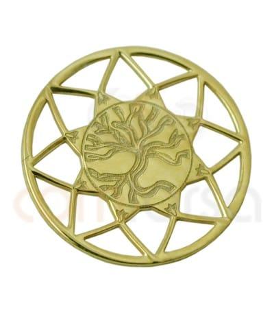 Mandala arbre de vie 13mm argent 925ml doré