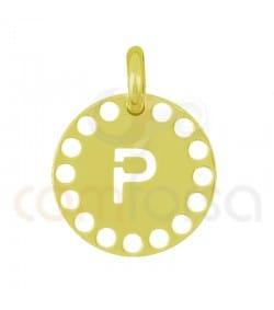 Pendentif lettre P avec des circles ajourés 14 mm argent 925ml