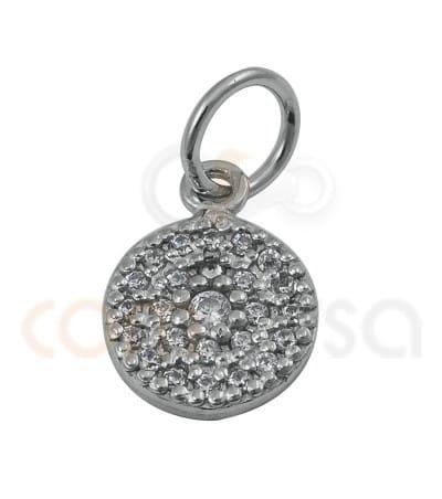 Pendentif cercle avec zirconites 8.5mm argent 925