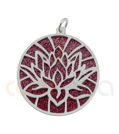 Pendentif fleur lot glitter rose 26 mm argent 925