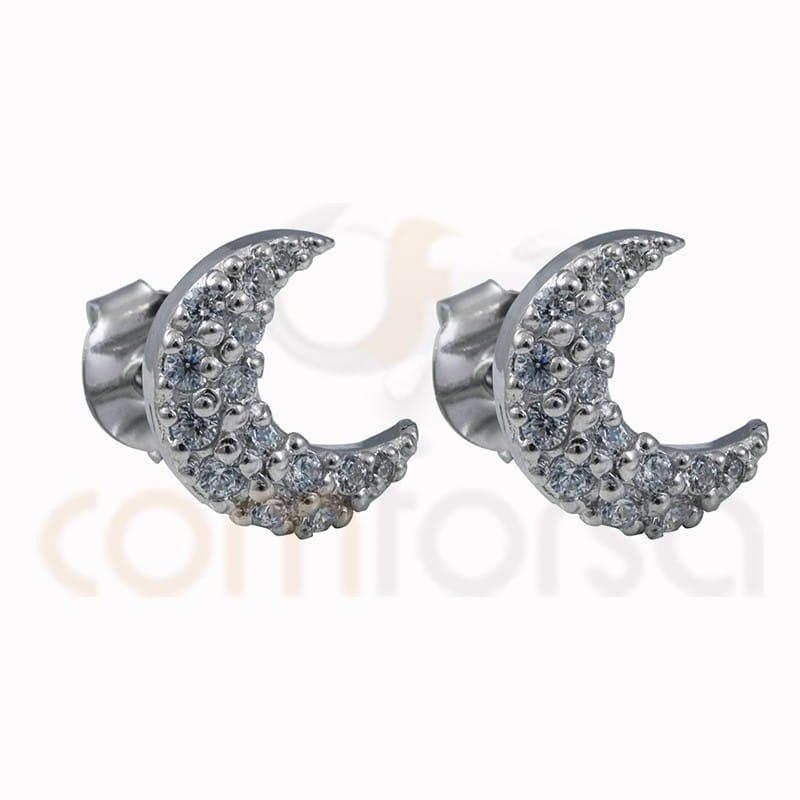 Boucles d´oreilles lune avec zirconites 10 mm argent 925