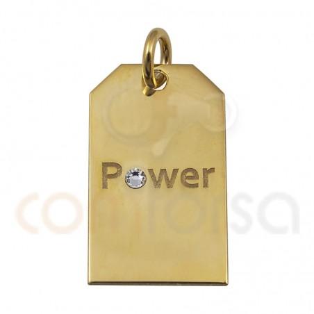 Breloque étiquette POWER 10x18mm argent 925