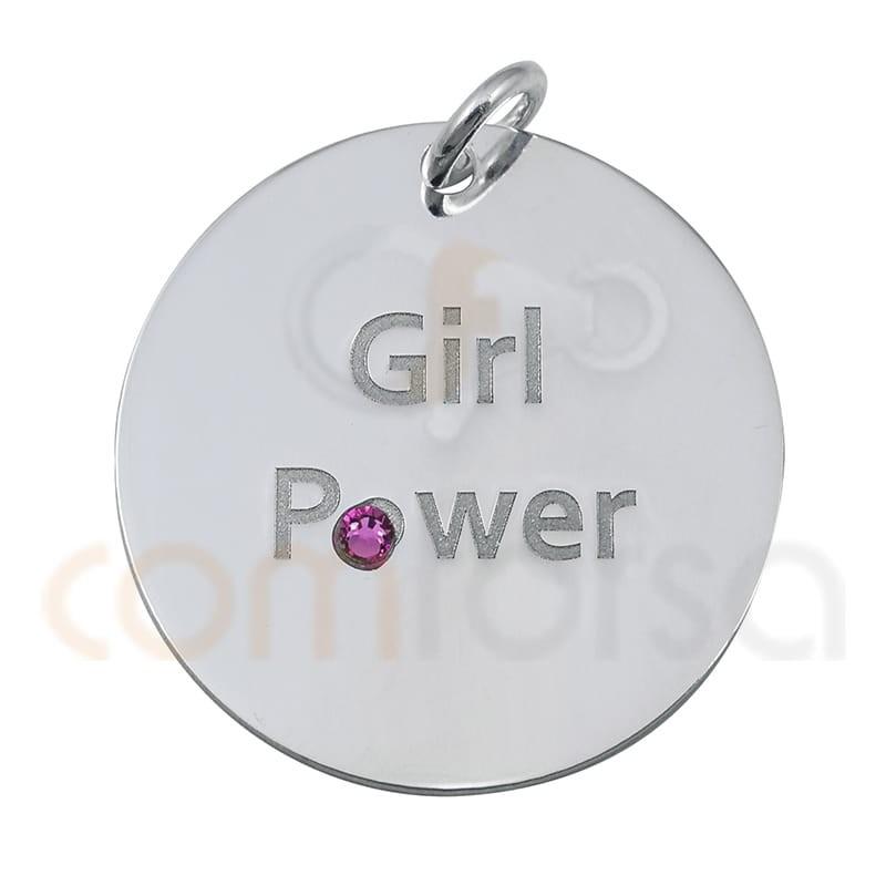 Médaille ``GIRL POWER´´ 20mm argent 925
