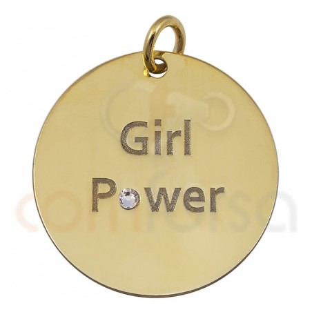 Médaille ``GIRL POWER´´ 20mm argent plaqué or