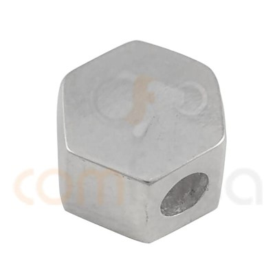 Entretoise hexagone 6 x 4 mm (2.2 int) argent 925