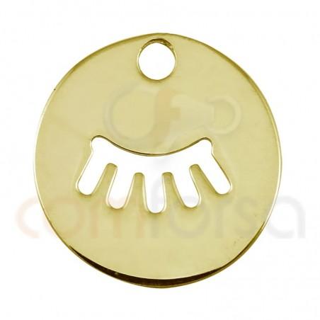 Bréloque ajouré cils 12mm argent plaqué or