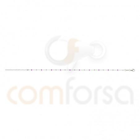 Chevilliere perles émaillées fuchsia argent 925