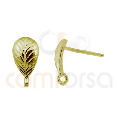clous d´oreilles feuilles 8 x 5 mm argent plaqué or
