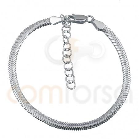 Bracelet serpent 15+3 cm argent plaqué or