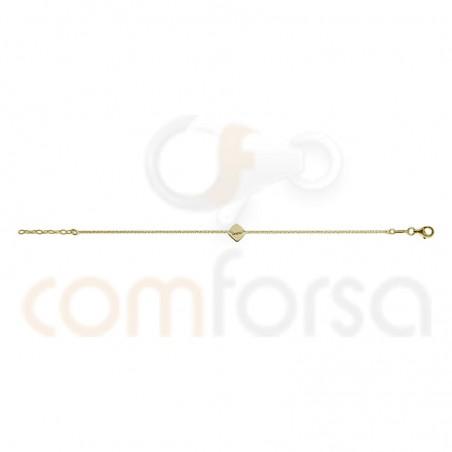 Bracelet chaîne avec losange 17 + 3 cm argent 925