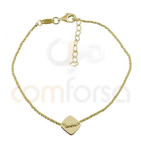 Bracelet chaîne avec losange 17 + 3 cm argent 925 plaqué or