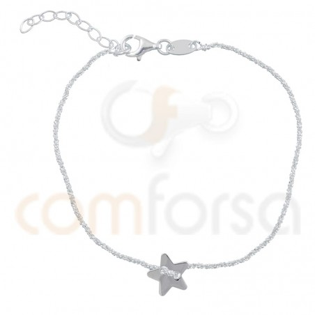 Bracelet chaîne étoile 17 + 3 cm argent 925 plaqué or