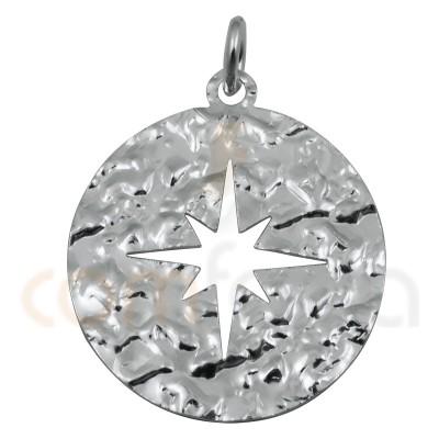 Médaille étoile polaire martelés 20mm argent  925