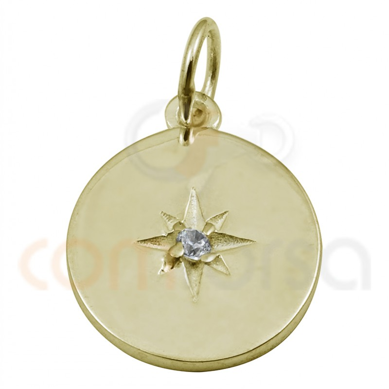 Breloque étoile polaire zirconites 15 mm argent plaqué or