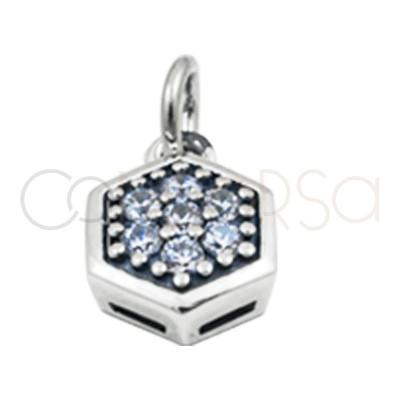 Pendentif hexagone zircon blanches 8 mm argent 925