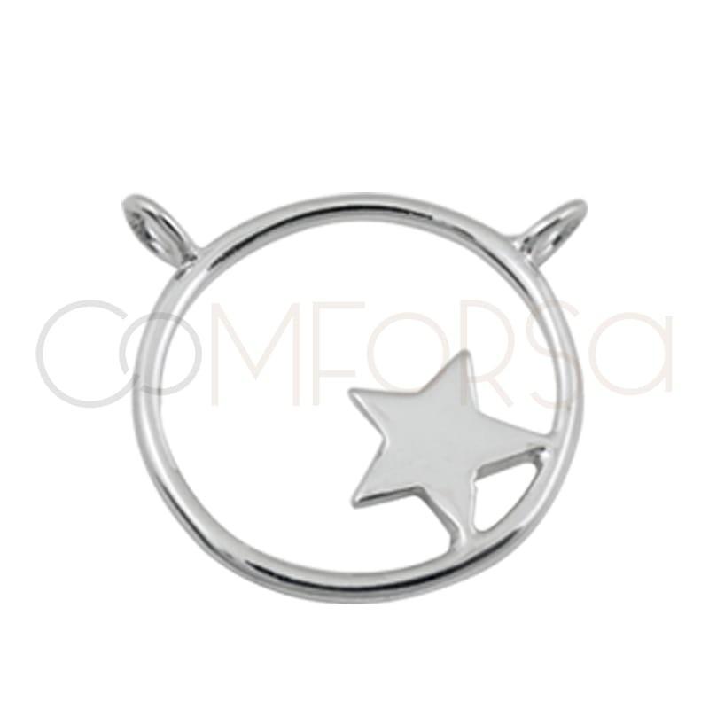 Pendentif anneau double étoile 17 mm argent 925