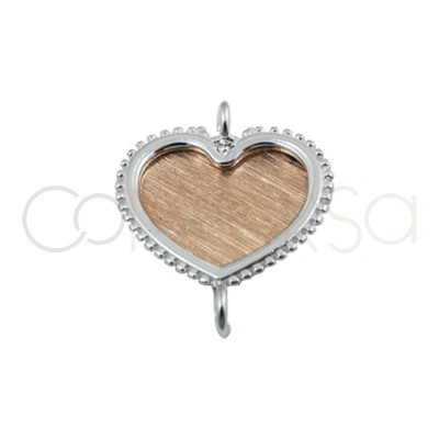 Intercalaires coeur argent or rose 18 mm argent 925