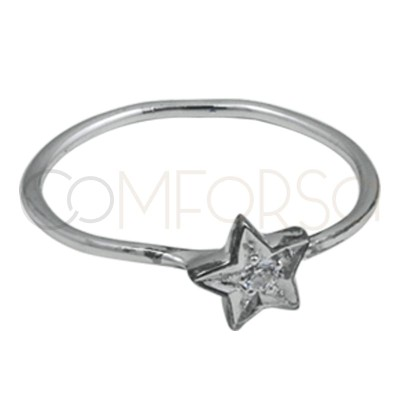 Alliance filetée avec étoile zircone argent 925