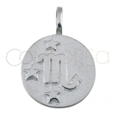 Pendentif horoscope Scorpion en argent plaqué or haut-rélief 20 mm
