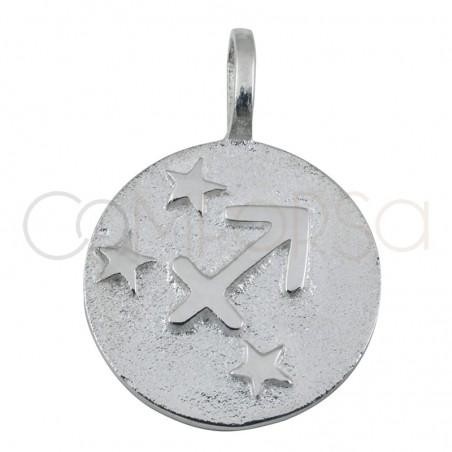 Pendentif horoscope Sagittaire en argent 925 haut-rélief 20 mm