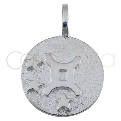 Pendentif horoscope Gémeaux en argent 925 haut-rélief 20 mm
