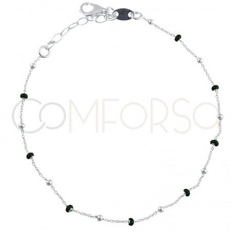Bracelet avec perles emaillées vertes 18+3cm en argent