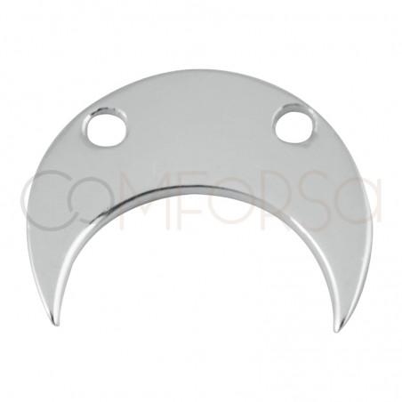 Intercalaire demie-lune foret double 11.5 x 10 mm en argent 925