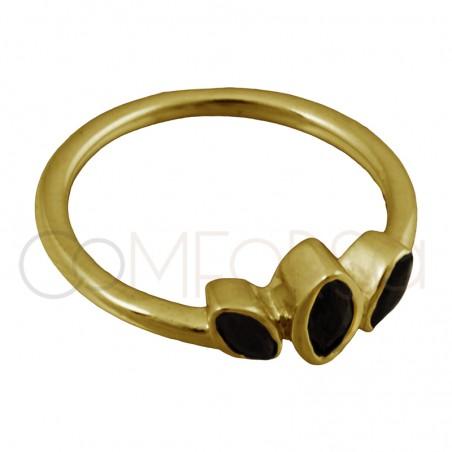 Bague trois feuilles zircones noires en argent 925 plaqué or