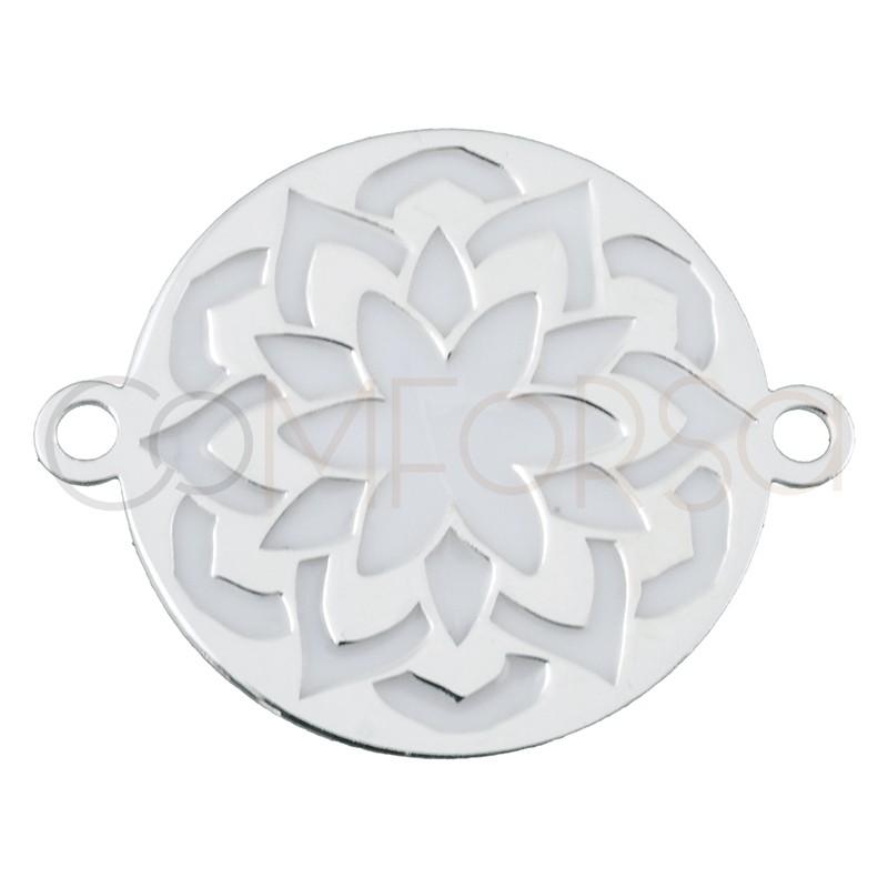 Intercalaire mandala fleur avec émail blanc 17 mm argent 925