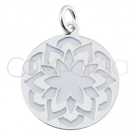 Pendentif mandala fleur avec émail blanc 17 mm argent 925