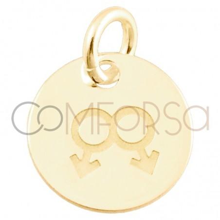 Pendentif Love is love hommes 11mm argent 925 plaque or