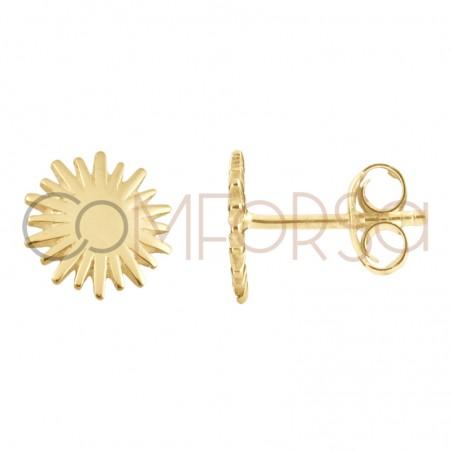 Boucle d'oreille soleil 10mm argent 925 plaque or